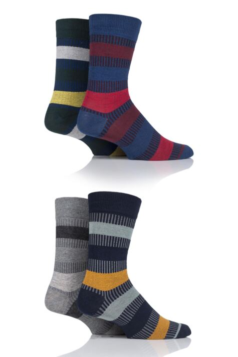 Mens 4 Pair Jack & Jones Mixed Striped Socks Product Image