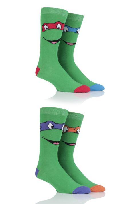 Official Men/'s 2 Pack Teenage Mutant Ninja Turtles Socks