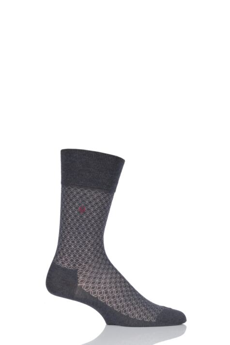 Mens 1 Pair Falke Cotton Keypad Patterned Socks Product Image