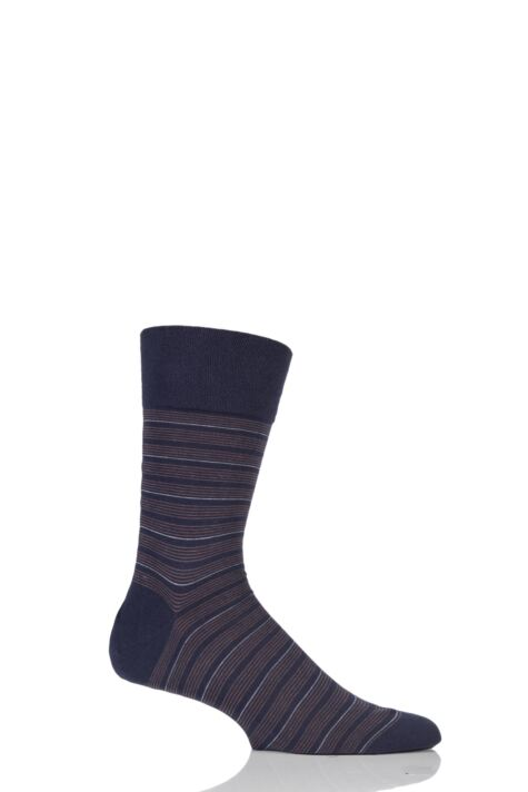 Mens 1 Pair Falke Sensitive Regular Fine Stripe Cotton Socks Product Image