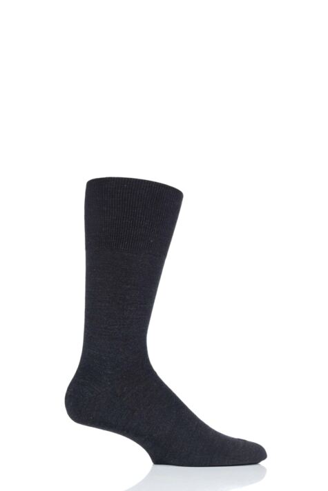 Mens 1 Pair Falke Airport Plain Virgin Wool and Cotton Business Socks Product Image