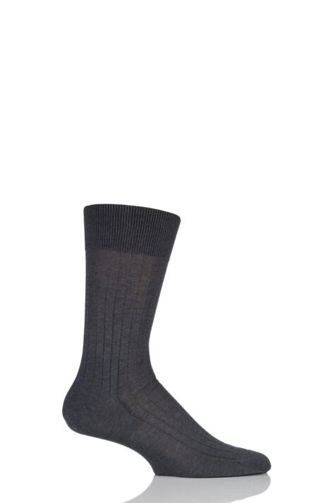 Mens 1 Pair Falke Milano Rib 97% Fil d'Ecosse Cotton Socks Product Image