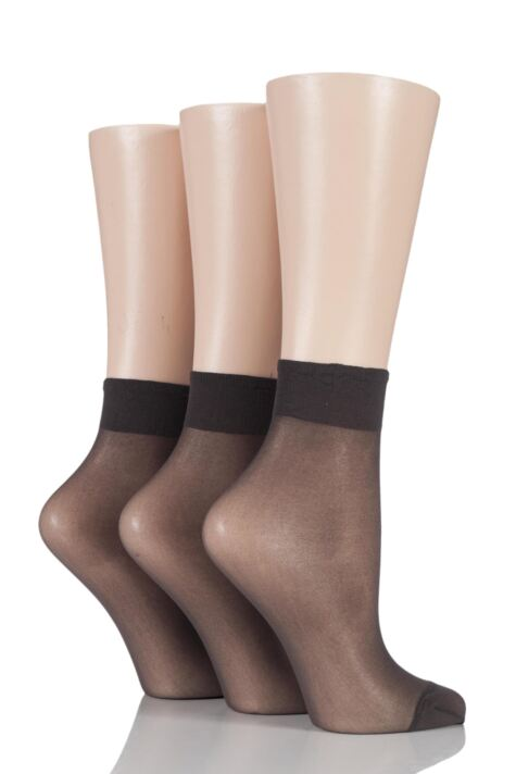 Ladies 3 Pair Elle 15 Denier 100% Nylon Ankle Highs Product Image