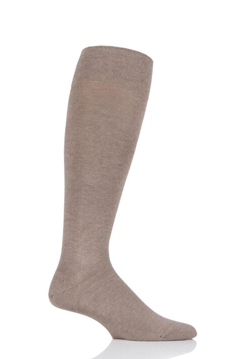 Mens 1 Pair Falke Sensitive London Cotton Left and Right Knee High Socks With Comfort Cuff Product Image