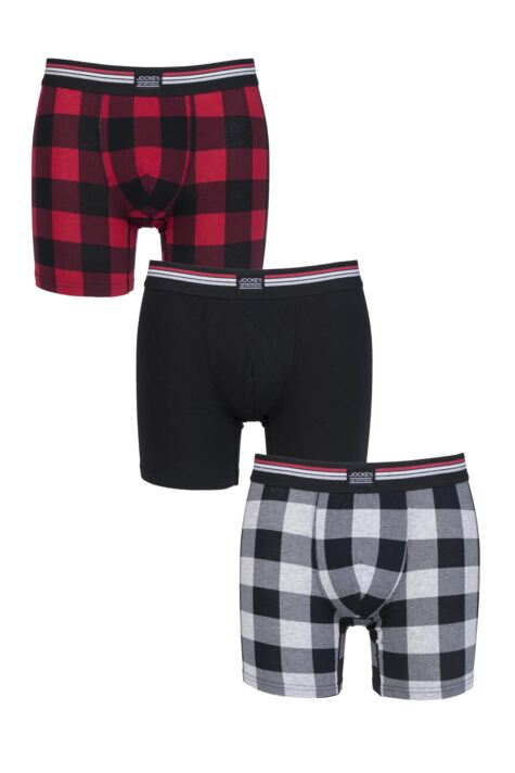 Mens 3 Pack Jockey Check and Plain Cotton Stretch Boxer Trunks Product Image