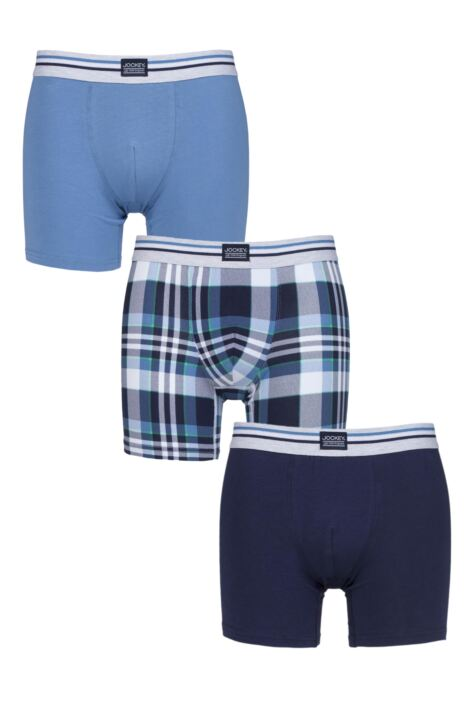 Mens 3 Pack Jockey Blue Check and Plain Cotton Stretch Boxer Trunks Product Image