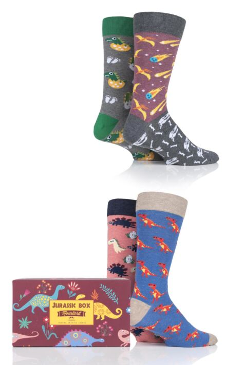 4 Pair Moustard Jurassic Box Gift Boxed Cotton Socks Product Image