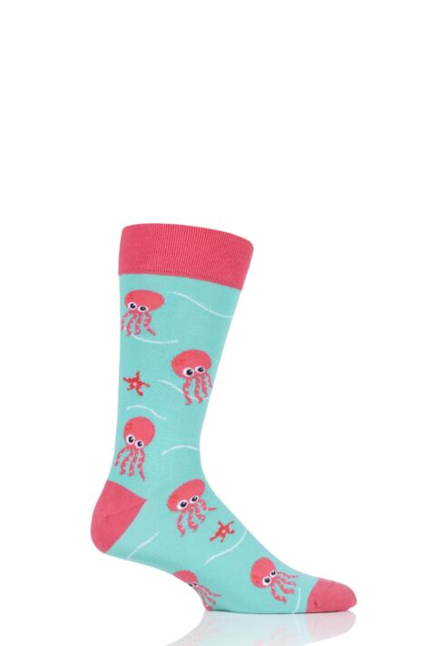 Mens and Ladies 1 Pair Moustard Sea Life Collection Octopus Cotton Socks Product Image