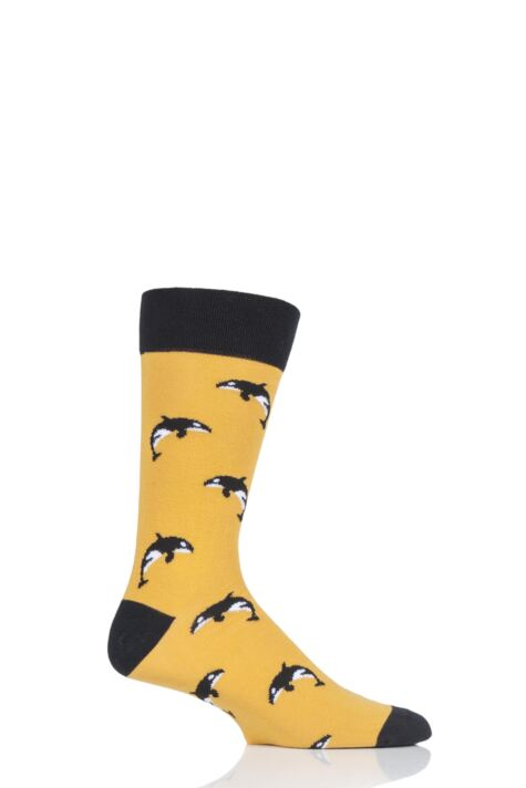 Mens and Ladies 1 Pair Moustard Sea Life Collection Orca Cotton Socks Product Image