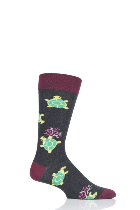 Mens and Ladies 1 Pair Moustard Sea Life Collection Sea Turtle Cotton Socks Product Image