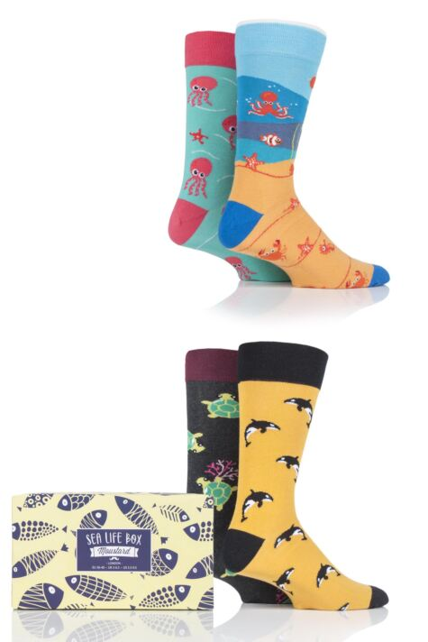Mens and Ladies 4 Pair Moustard Sea Life Collection Gift Boxed Cotton Socks Product Image