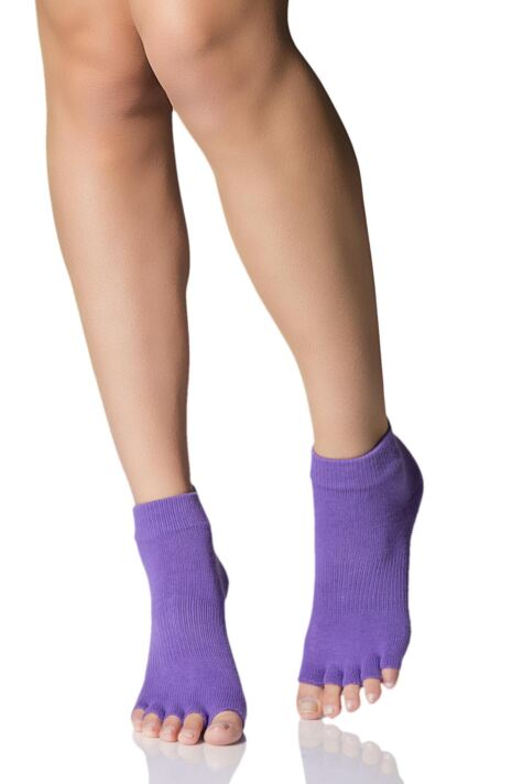 Mens and Ladies 1 Pair ToeSox Half Toe Organic Cotton Ankle Yoga Socks In Light Purple Product Image