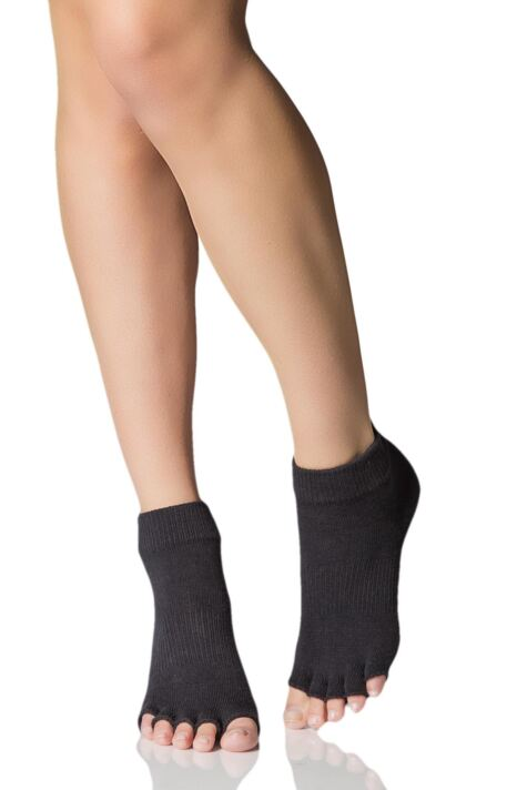 Mens and Ladies 1 Pair ToeSox Half Toe Organic Cotton Ankle Yoga Socks In Black Product Image