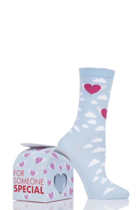 Ladies 1 Pair Burlington Cotton Heart Socks In Gift Box Product Image
