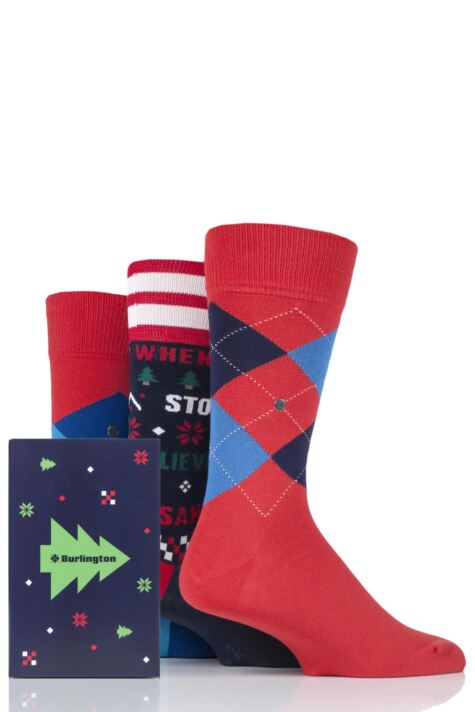 Mens 3 Pair Burlington Christmas Argyle Mixed Cotton Socks In Gift Box Product Image