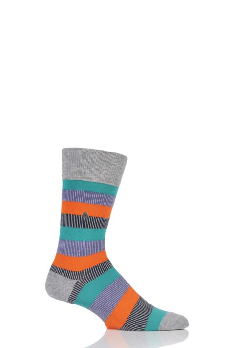 Mens 1 Pair Burlington Varied Stripe Cotton Socks Product Image