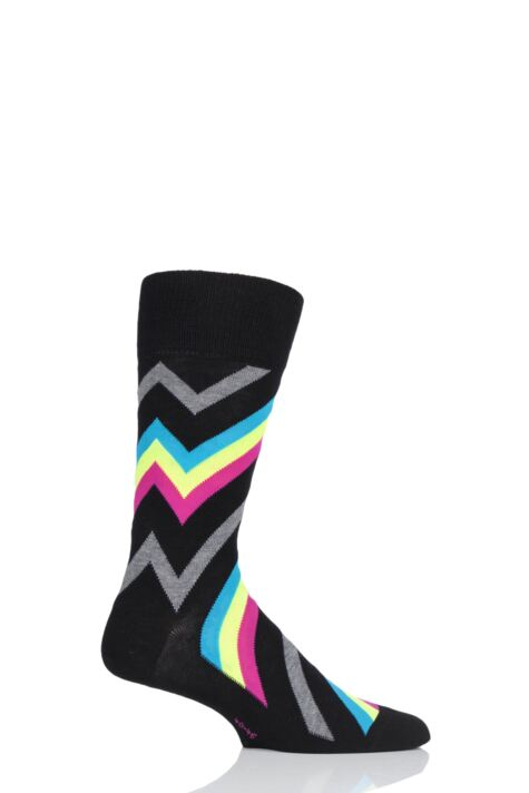 Mens 1 Pair Burlington Zig Zag Stripe Cotton Socks Product Image