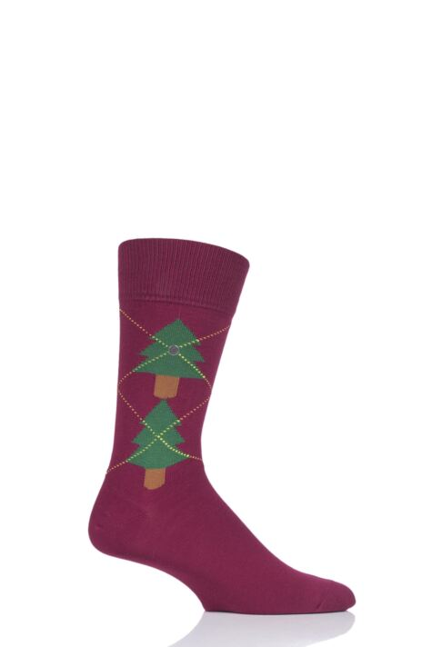 Mens 1 Pair Burlington Christmas Tree Argyle Cotton Socks Product Image