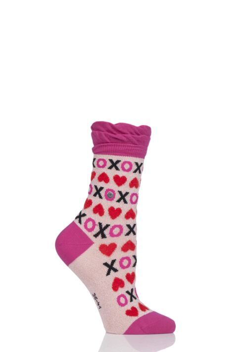 Ladies 1 Pair Burlington XOXO Heart Cotton Socks