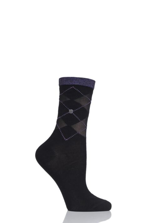 Ladies 1 Pair Burlington Transparent Covent Garden Argyle Cotton Socks Product Image