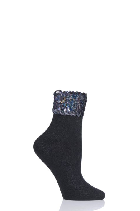Ladies 1 Pair Burlington Pailletten Sequin Sparkle Cotton Socks Product Image