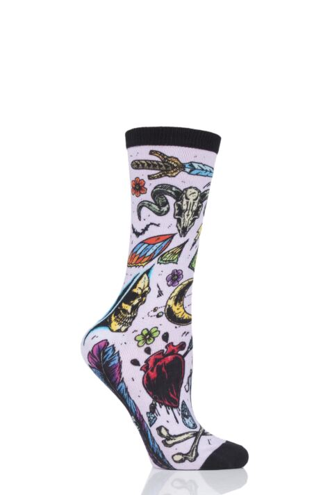 Ladies 1 Pair Burlington Horror Print Cotton Socks Product Image