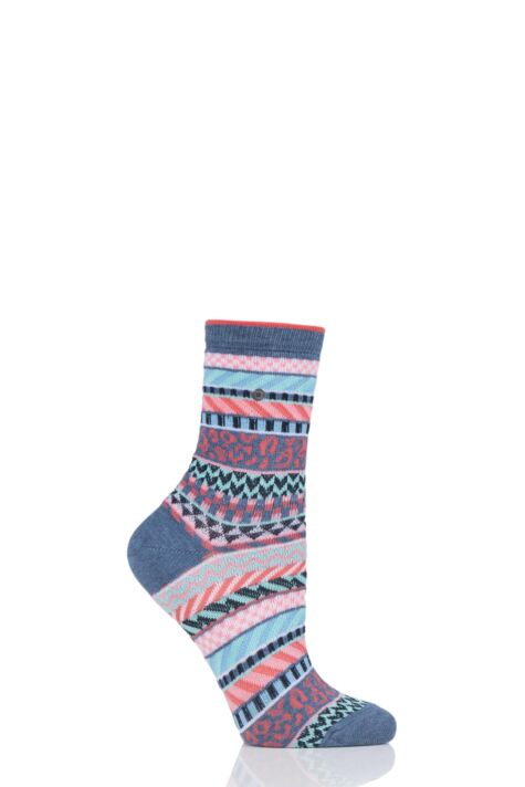 Ladies 1 Pair Burlington Summer Fair Isle Cotton Socks Product Image