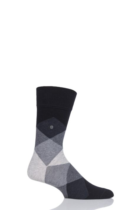 Mens 1 Pair Burlington Clyde Cotton All Over Blend Argyle Socks Product Image