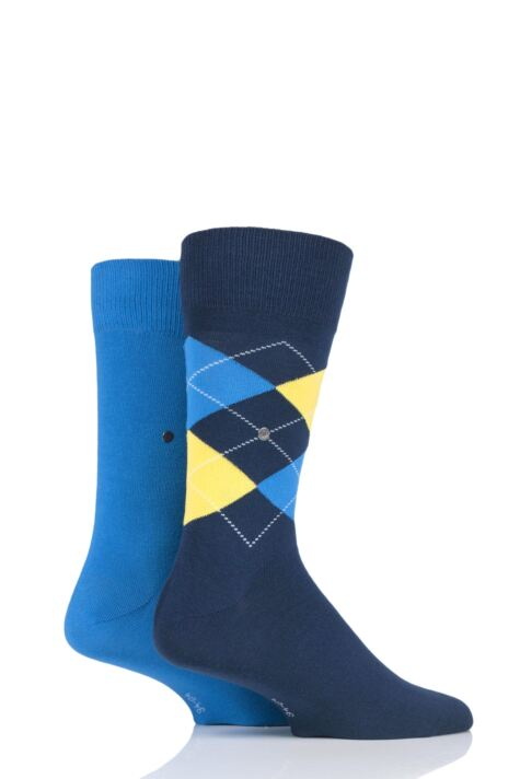 Mens 2 Pair Burlington Everyday Plain and Argyle Cotton Socks Product Image