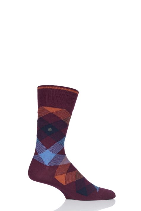 Mens 1 Pair Burlington Newcastle Virgin Wool Tartan Socks Product Image