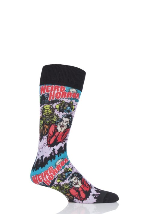 Mens 1 Pair Burlington Horror Print Cotton Socks Product Image