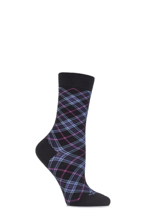Ladies 1 Pair Burlington Shoreditch Cotton Tartan Socks Product Image