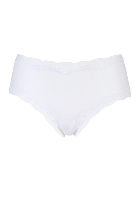 Ladies 1 Pair Kinky Knickers Simply Plain Classic Knicker with Nottingham Lace Trim In White Product Image