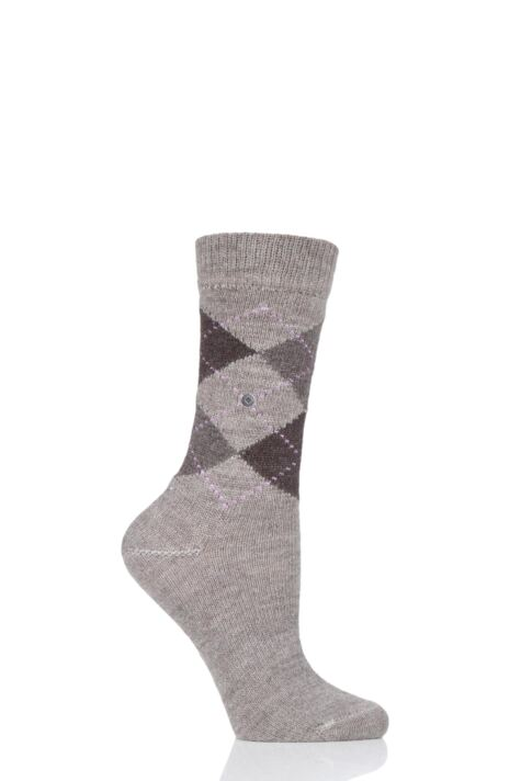 Ladies 1 Pair Burlington Whitby Extra Soft Argyle Socks Product Image