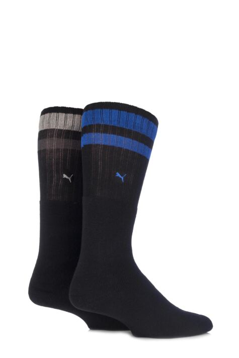 Mens and Ladies 2 Pair Puma Heritage Double Striped Crew Sports Socks Product Image