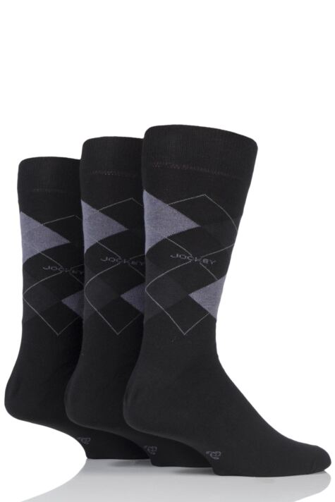 Mens 3 Pair Jockey Casual Argyle Cotton Socks Product Image