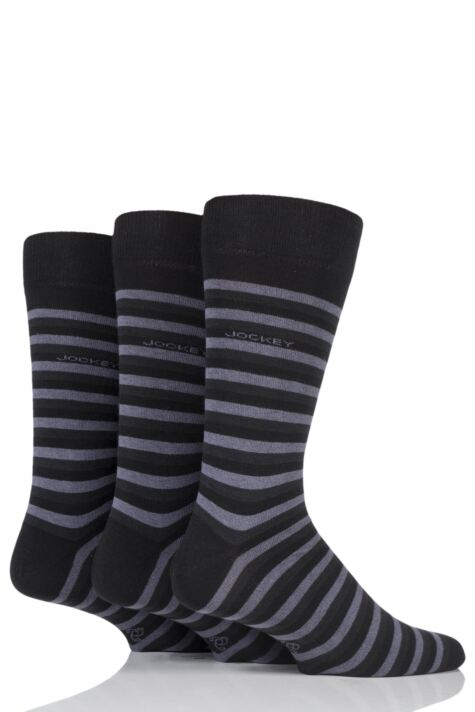 Mens 3 Pair Jockey Casual Stripe Cotton Socks Product Image