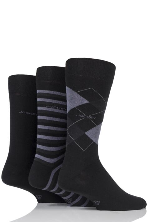 Mens 3 Pair Jockey Casual Stripe Argyle and Plain Cotton Socks Product Image