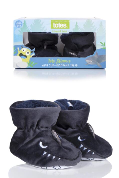 Boys 1 Pair Totes Animal Padders Slipper Socks Product Image