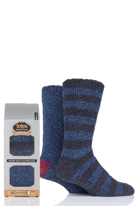 Mens 2 Pair Totes Twin Super Soft Stripe and Plain Bed Socks Product Image