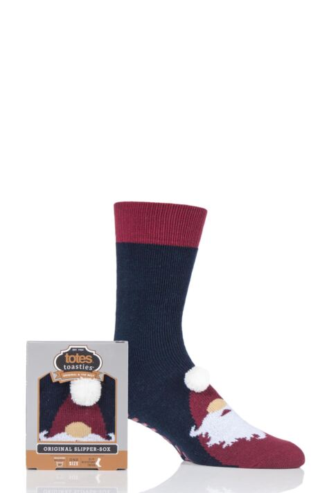 Mens 1 Pair Totes Original Novelty Slipper Socks with Grip Product Image