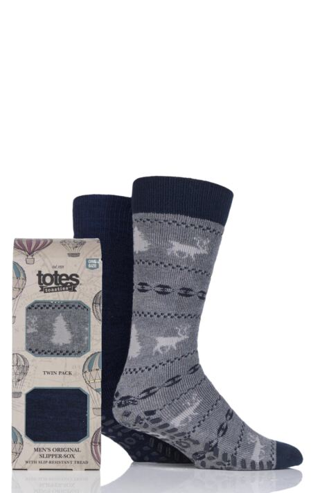 Mens 2 Pair Totes Original Plain and Patterned Slipper Socks Product Image