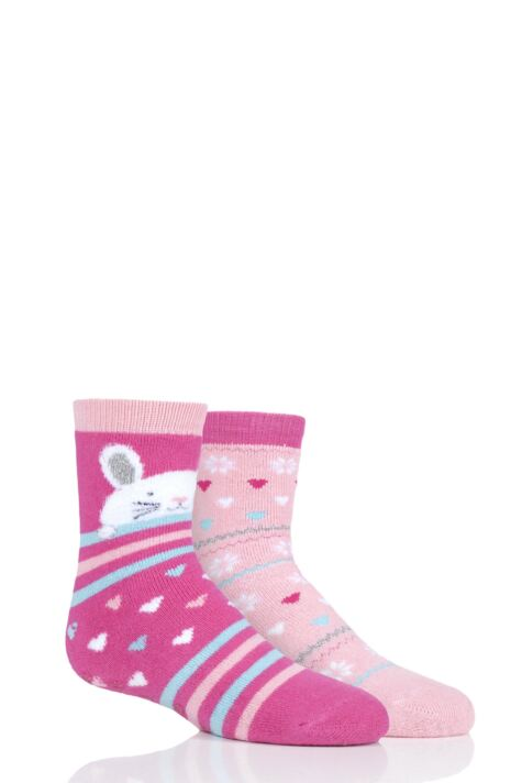 Girls 2 Pair Totes Tots Originals Novelty Slipper Socks Product Image