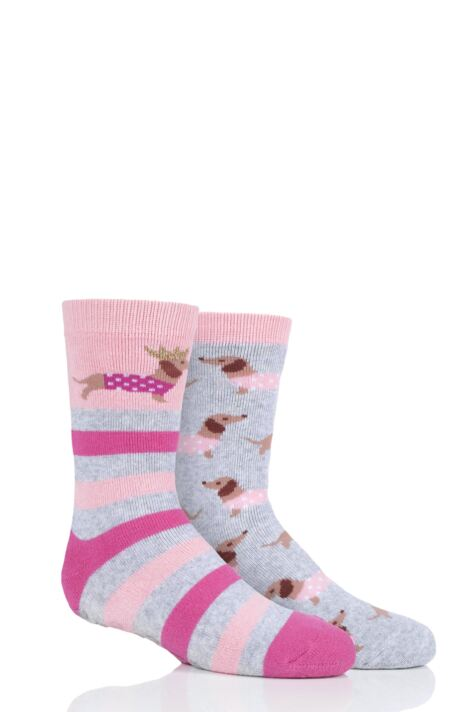 Girls 2 Pair Totes Originals Novelty Slipper Socks Product Image