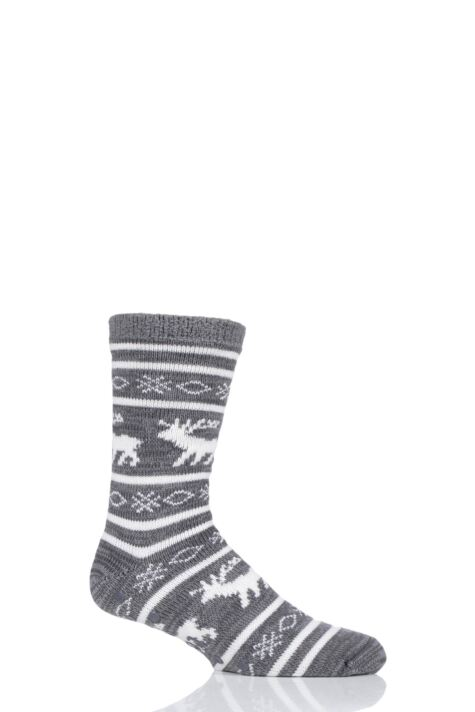 Mens 1 Pair Totes Reindeer Fairisle Chunky Lined Socks Product Image