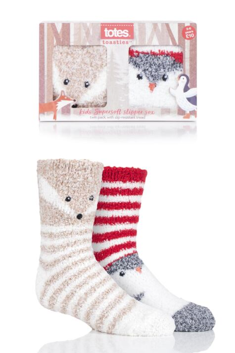 Boys and Girls 2 Pair Totes Cosy Fox and Penguin Novelty Socks Product Image