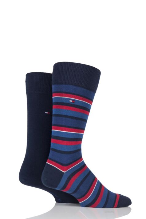 Mens 2 Pair Tommy Hilfiger Variation Striped Cotton Socks Product Image