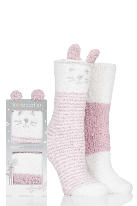 Ladies 2 Pair Totes Cosy Animal Striped Socks Product Image