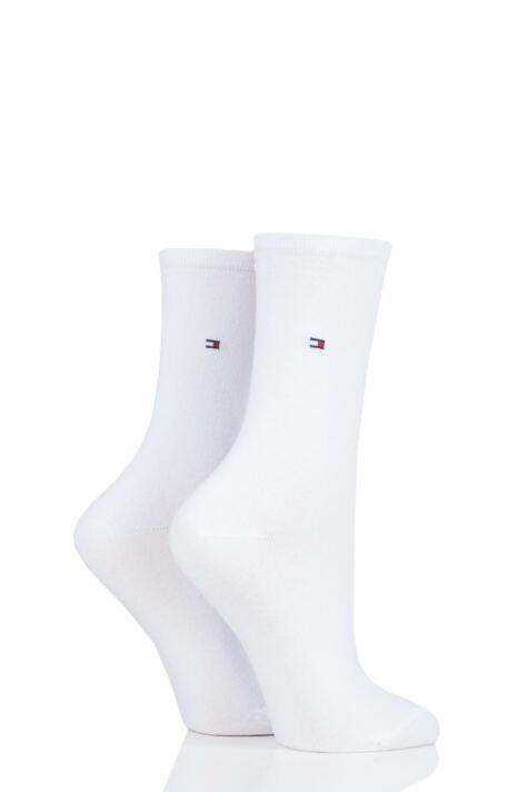 Ladies 2 Pair Tommy Hilfiger Plain Cotton Socks Product Image