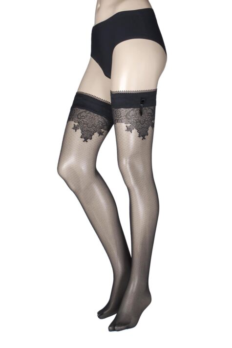 Ladies 1 Pair Falke Lace Detail Hold Ups Product Image
